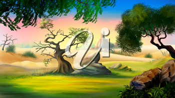 Digital painting of the African Savanna in a summer day with small tree and big rock.