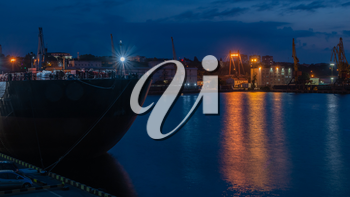 Panoramic view of the sea port and cargo terminal in Odessa, Ukraine, at the summer night