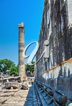 Didyma, Turkey – 2019-07-20. Broken Ionic Columns in the Temple of Apollo at Didyma, Turkey, on a sunny summer day