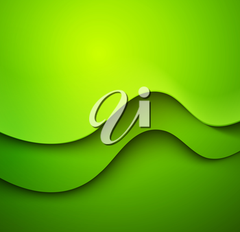 Abstract colorful green vector template waved background.