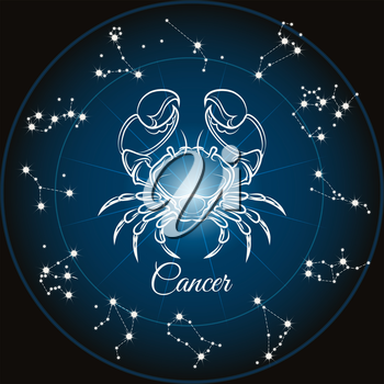 Zodiac sign cancer and circle constellations. Vector illustration