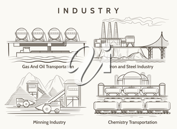 Factory industrial landscape. Mining and chemical industry, metallurgical production illustration in vintage style. Vector illustration