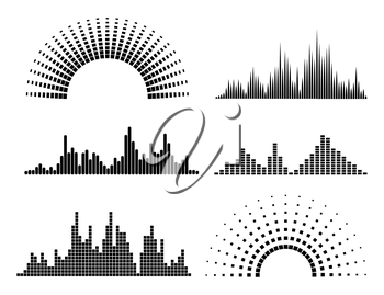 Black musicwaves forms isolated on white background. Vector illustration