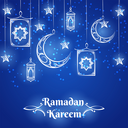 Ramadan Kareem background design with lamps, moon and stars on blue. Vector illustration