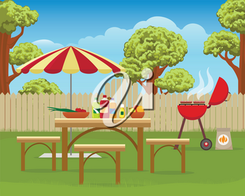 Summer backyard fun bbq or grilling barbecue party cartoon vector illustration. Home garden patio picnic lifestyle