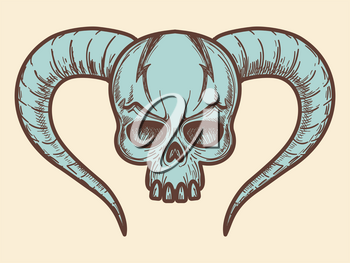 Aggressive monters skull with horns in blue color. Vector illustration