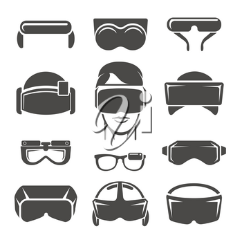 Virtual reality icons. Vr glasses, game simulation helmet and 3d headset device, vector illustration