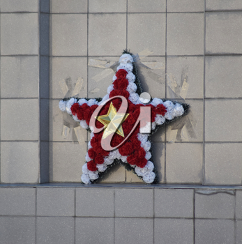 Garland in the form of a five-pointed star. Flowers of the Victory Day.