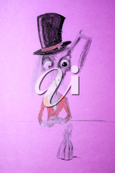 Ugly rabbit in a hat drinking tea. Beside him on the table is Thumbelina. Sick imagination of the artist.
