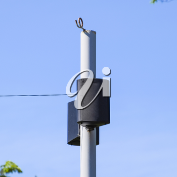 The loudspeaker on the pole. Outdoor speakers for fun walking in the park.