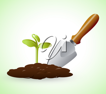 Gardening Trowel Representing Grow Flowers 3d Illustration