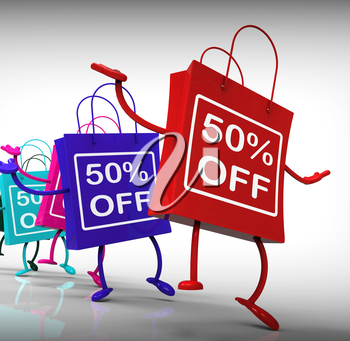 Fifty-Percent Off Bags Shows Sales and 50 Discounts
