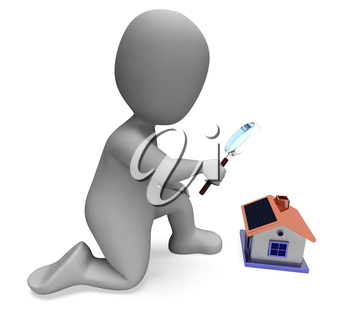 House Character Showing Inspection Survey Searching Or Looking For Home