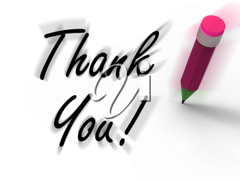 Thank You Sign with Pencil Displaying Written Acknowledgement