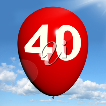 40 Balloon Showing Fortieth Happy Birthday Celebration