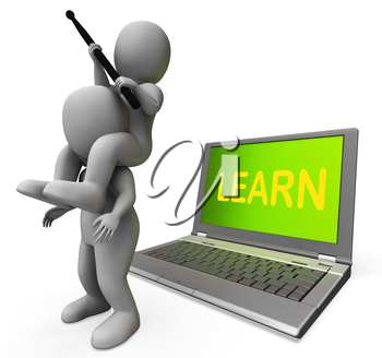 Learn Characters Laptop Showing Web Training Or Studying