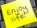 Enjoy Life Note Representing Cheerful 3d Illustration