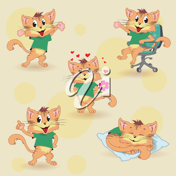 Cartoon cat set for education, vector illustration