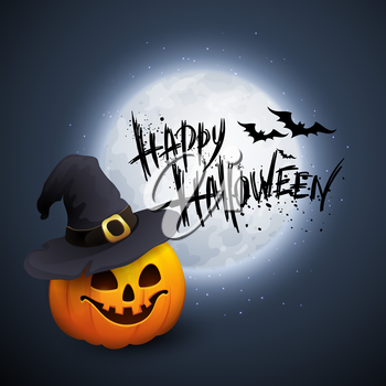 Halloween Party Background with Pumpkin and Moon in the Back. Vector illustration EPS 10