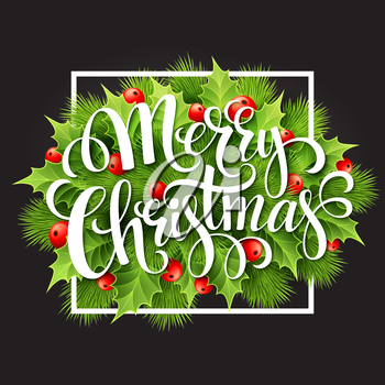 Christmas decoration on chalk board. Vector illustration EPS 10