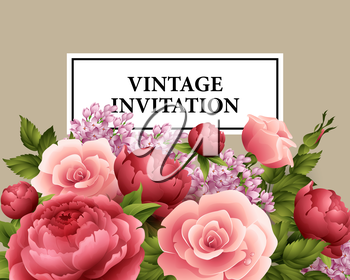 Vintage  Greeting Card with Blooming Flowers.  Vector Illustration EPS10
