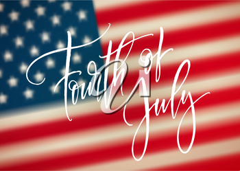 Fourth of July celebration banner, greeting card design. Happy independence day of United States of America hand lettering. USA freedom background. Vector illustration EPS10