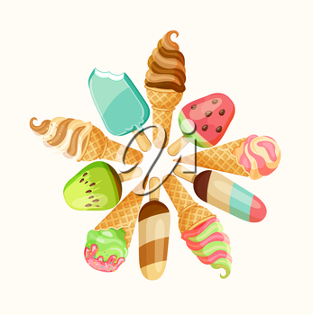 Set of tasty ice cream isolated on white background, vector illustration.