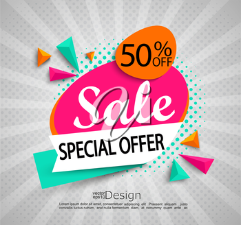 Sale - special offer - bright modern banner with halftone background. Sale and discounts. Vector illustration.