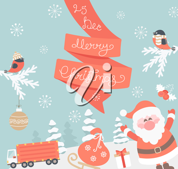 Christmas Greeting Card. Merry Christmas lettering with Santa. Vector illustration.