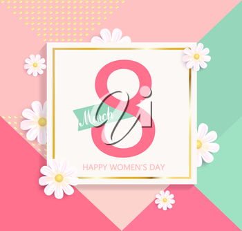 Womens day bright geometric background with beautiful flower. Vector illustration template and card, banners and wallpaper, flyers, invitation, posters, brochure, vector.