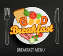 Good Breakfast lettering and hand drawn outline watercolor pan, fork and knife on textured black board background. Vector design for breakfast menu, cafe, restaurant.