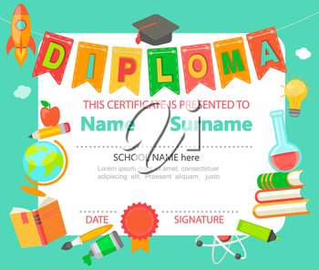 kindergarten preschool elementary school kids diploma certificate background design template vector illustration