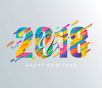 Modern creative happy new year 2018 design card. Vector illustration.
