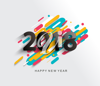Creative happy new year 2018 card on modern background. Vector illustration.