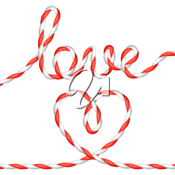 Greeting card with heart from rope. Concept can be used for Valentines Day, wedding or love confession message.