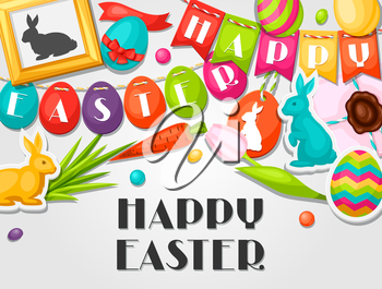 Happy Easter greeting card with decorative objects, eggs, bunnies stickers. Concept can be used for holiday invitations and posters.