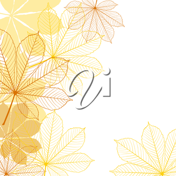 Stylish background with falling autumn leaves. Vector illustration.