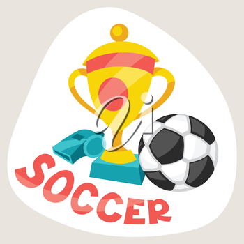 Sports background with soccer symbols in cartoon style.