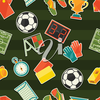 Sports seamless pattern with soccer (football) stickers.