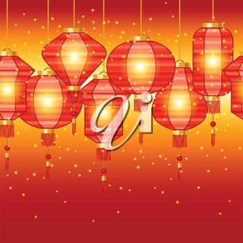 Chinese New Year seamless pattern with lanterns.