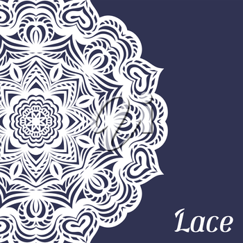 Background with hand drawn ornamental round lace doily.