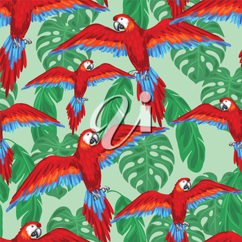 Tropical birds seamless pattern with parrots and palm leaves.