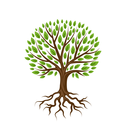 Abstract stylized tree with roots and leaves. Natural illustration.