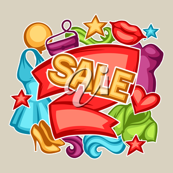 Sale banner with female clothing and accessories.