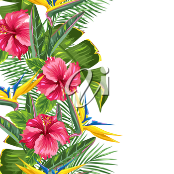 Seamless border with tropical leaves and flowers. Palms branches, bird of paradise flower, hibiscus.