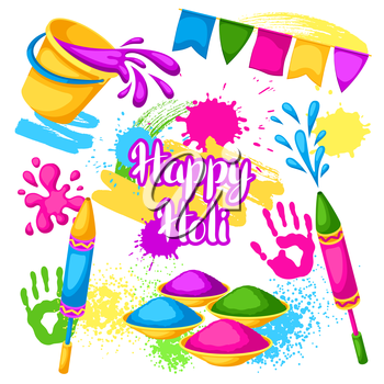 Happy Holi set of elements. Buckets with paint, water guns, flags, blots and stains.