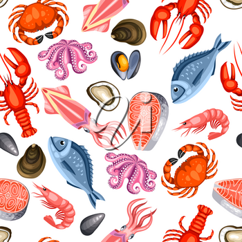Seamless pattern with various seafood. Illustration of fish, shellfish and crustaceans.