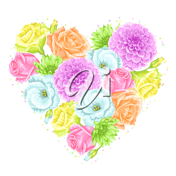Decorative heart with delicate flowers. Object for decoration wedding invitations, romantic cards.