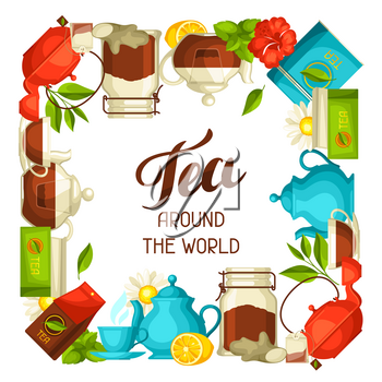 Tea around the world. Illustration with tea and accessories, packs and kettles.