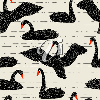 Seamless pattern with floating black swans. Hand drawn birds.